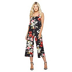 Quiz - Black and red floral culotte jumpsuit