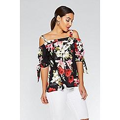 Quiz - Black and red floral cold shoulder top