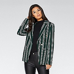 Quiz - Green and white stripe gold button jacket
