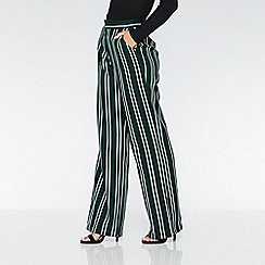 Quiz - Green and white stripe palazzo trousers