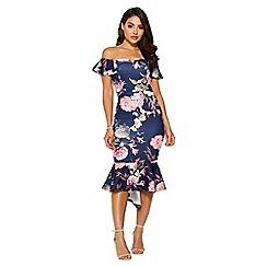 Quiz - Navy & pink floral frill bardot dress