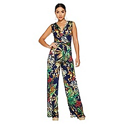 Quiz - Navy tropical print jumpsuit