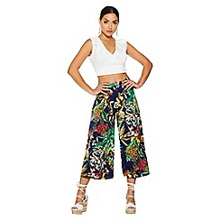 Quiz - Navy tropical print culotte trousers