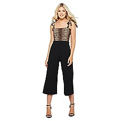Quiz - Brown leopard print culotte jumpsuit