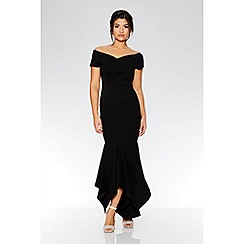 Quiz - Black wrap bardot dip hem dress