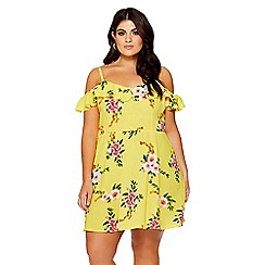 Quiz - Curve yellow floral print skater dress