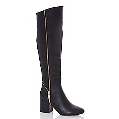 Quiz - Black split zip detail knee high boots