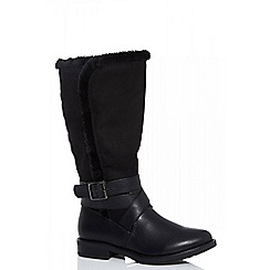 Quiz - Black faux fur trim calf length boots
