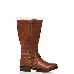Quiz - Tan faux fur buckle calf length boots