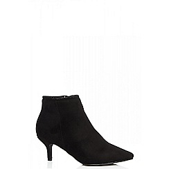 Quiz - Black diamante trim pointed ankle boots