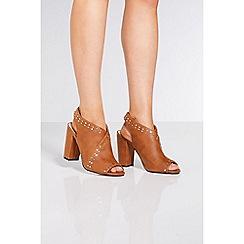 Quiz - Tan stud chunky heel shoe boots