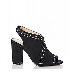 Quiz - Grey stud chunky heel shoe boots