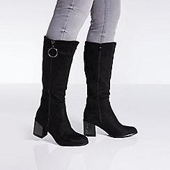 Quiz - Black faux suede zip detail knee high boots