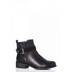 Quiz - Black diamante strap ankle boots