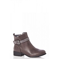 Quiz - Brown diamante strap ankle boots