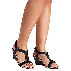 Quiz - Black Diamante Wedge Heels
