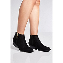 Quiz - Black ring pull ankle boots