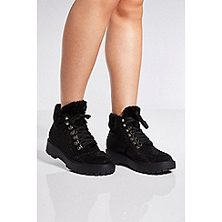 Quiz - Black embellished fur trim ankle boots