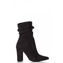 Quiz - Towie black faux suede slouch calf boots