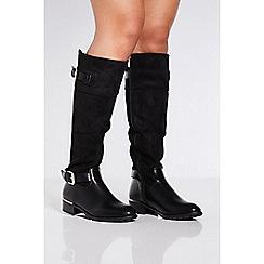 Quiz - Black double buckle knee high boots