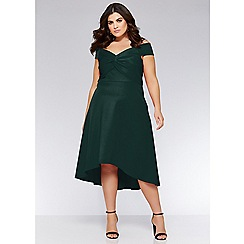Quiz - Curve bottle green knot front bardot dress