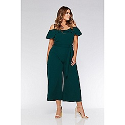 d918cae5d60 Quiz - Curve bottle green crepe cold shoulder tie belt jumpsuit