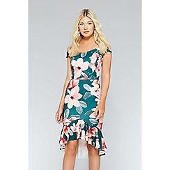 Quiz - Green & pink floral frill bardot dress