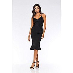 Quiz - Black sequin lace frill midi dress