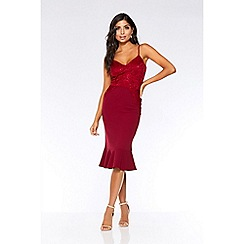 Quiz - Berry sequin lace frill midi dress
