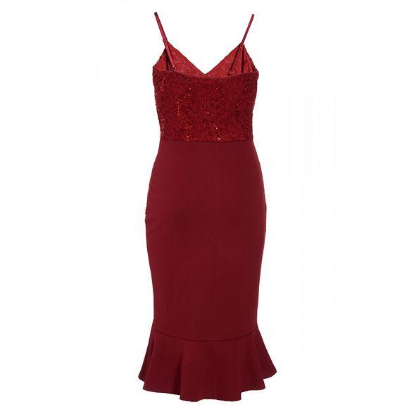 frill dress midi lace sequin Quiz Berry wq0tZv