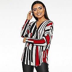 Quiz - Red grey and black zip stripe top