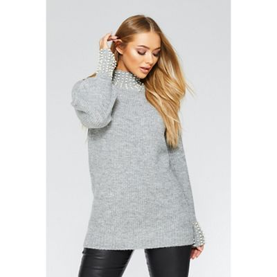 92f68f042 Quiz Grey knit pearl jumper