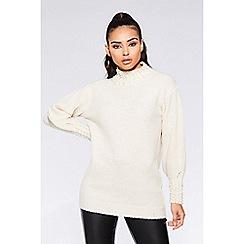 Quiz - TOWIE cream knit pearl jumper