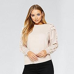 Quiz - Pink flower appliqué long sleeve jumper
