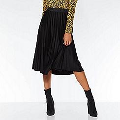 Quiz - Black pleated midi skirt