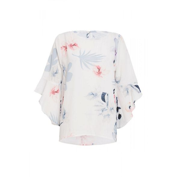 Quiz and floral frill pink top Cream q8waR