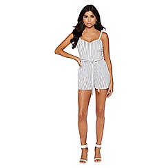 Quiz - White and navy stripe playsuit