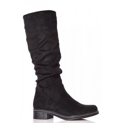 Quiz   Black Faux Suede Ruched Calf Boots by Quiz
