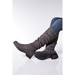 Quiz - Grey faux suede ruched calf boots