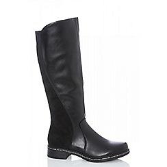Quiz - Black stud trim knee high boots
