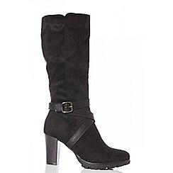 Quiz - Black faux suede strap calf boots