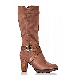 Quiz - Taupe faux suede strap calf boots