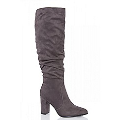 Quiz - Grey ruched block heel calf boots