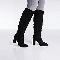 Quiz - Black ruched block heel calf boots
