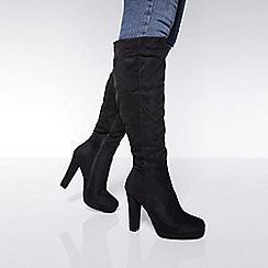 Quiz - Black faux suede platform calf boots