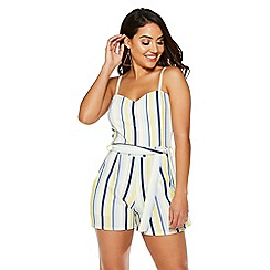 Quiz - Cream, lemon & blue stripe playsuit