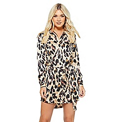 Quiz - Stone and black leopard print shirt dress
