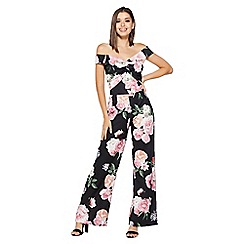 Quiz - Black And Pink Palazzo Jumpsuit