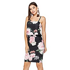Quiz - Black And Pink Floral Overlay Midi Dress