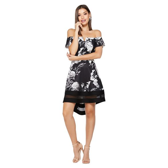 bardot dip Quiz grey dress Black and hem floral wTvPHIq